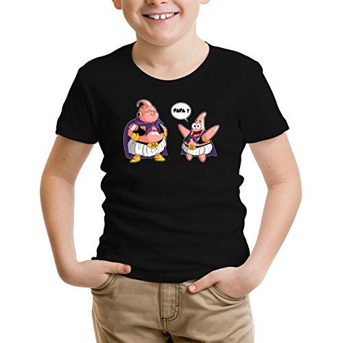 T-Shirt Enfant Noir Dragon Ball Z - Bob l'éponge parodique Majin BOU et Patrick : Papa !! (Tel père, tel Fils !) (Parodie Dragon Ball Z - Bob l'éponge)