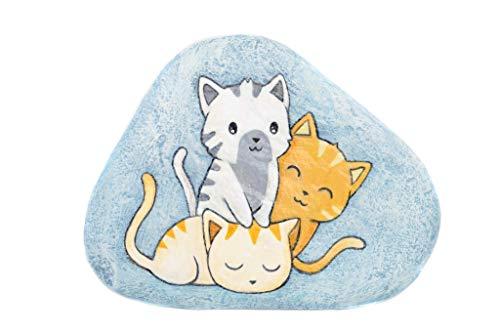Famiglia di Gatti, Sasso Dipinto a Mano, Gatti Dipinti
