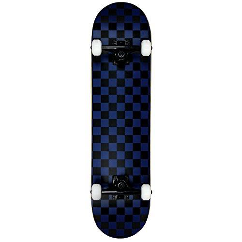 Krown Rookie Checker Skateboard, Black/Blue