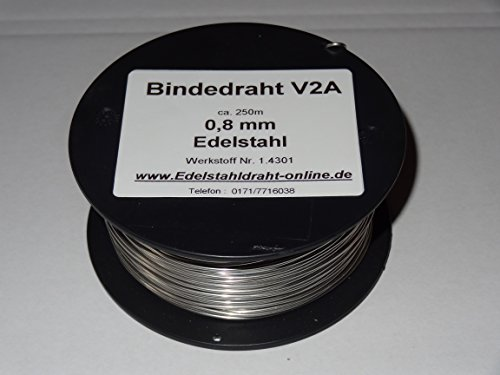 1 Spule Bindedraht aus Edelstahldraht VA V2A 0,8mm ca.250m weich, biegsam und flexibel rostfreier Edelstahldraht 1.4301