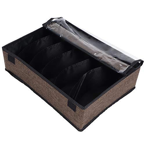 Eulbevoli Organizador de Ropa Interior, Caja de Almacenamiento Plegable con Cremallera de Metal de imitación de Lino para Guardar Toallas para Guardar Calcetines