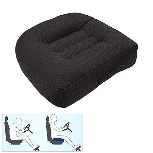 Nine River Car Booster Seat Cushion Raise The Height for Short People Driving Hip (Tailbone) and Lower Cack Fatigue Relief Suitable for Trucks, Cars, SUVs, Office Chairs, Wheelchairs (Pure Black)