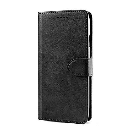 JIUNINE Hülle für Xiaomi Poco F2 Pro, Handyhülle PU Leder Flip Hülle mit [Kartenfach] [Magnetverschluss] Schutzhülle Tasche Cover Lederhülle für Xiaomi Poco F2 Pro, Schwarz