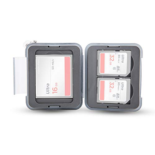 PROfezzion Memory Card Case Fundas para Tarjetas de Memoria con Mosquetón con Cadena Corta para 2 x SD SDHC SDXC y 1 x CompactFlash CFast CF Cards