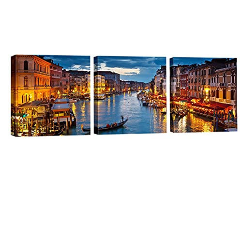 Wieco Art Venice Night 3 Piece Giclee Canvas Prints Wall Art Italy City Skyline Landscape Picture Paintings for Living Room Bedroom Home Decorations Modern Stretched and Framed Cityscape Artwork