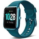 Lintelek Montre Connectée Intelligente Homme Femme Ecran Tactile, Smartwatch Cardio Fréquence Bracelet Connecté Tracker d'activité Podomètre Compatible avec iPhone Samsung Huawei