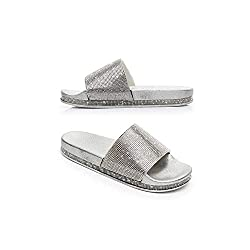 Silver Casual Slip Flop Thick Bottom Slippers With Rhinestones