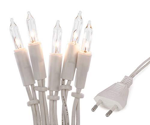 Hellum 832082 Lichterkette 20 Pisellokerzen klar / 5,85 m/innen/Zuleitung 2x1,5 m weiß