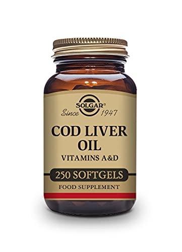 Solgar Aceite de Hígado de Bacalao, Vitaminas A y D, 250 cápsulas blandas