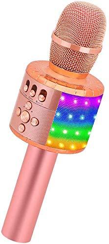 BONAOK Drahtloses Bluetooth-Karaoke-Mikrofon mit Steuerbaren LED-Leuchten, Tragbarer Karaoke-Maschinenlautsprecher Geburtstagsgeschenk Party-Reisespielzeug für Android/iPhone/iPad/PC (Roségold Plus)