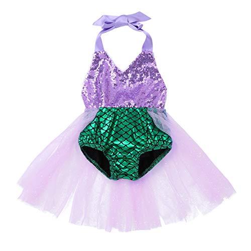 MSemis Traje de Baño Una Pieza Disfraz Sirenita para Bebés Niñas Bañador Sirena Bebés Body Vestido Fiesta Cumpleaños Traje Disfraces Halloween Navidad Morado y Verde 3 Años