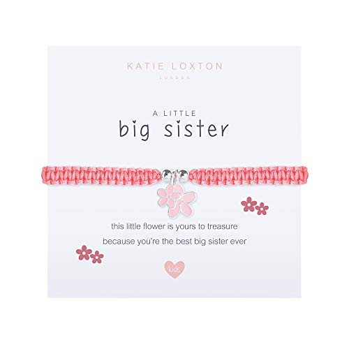 Katie Loxton A Little Big Sister Pink Flowers Girls' Stretch Adjustable Band Charm Bracelet