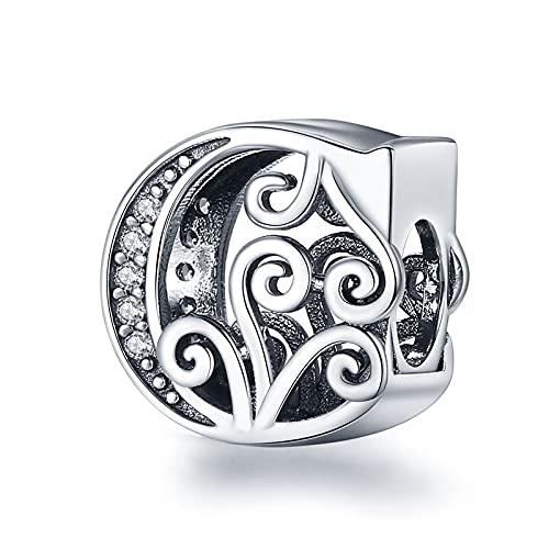 pandora 925 plata esterlina DIY colgante joyería alfabeto letra C encanto nombre grano ajuste único pulseras colgante joyería c