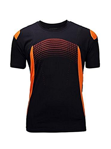 SwissWell Herren Kurzarm Schnell-Trocken Slim Fit Quick-Dry Sport T-Shirt, Schwarz/Orange, Gr.- L
