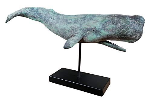 MichaelNoll Wal Dekofigur Statue Skulptur Standfuß Polyresin - Maritime Deko in Holz-Optik - 51x15x28 cm