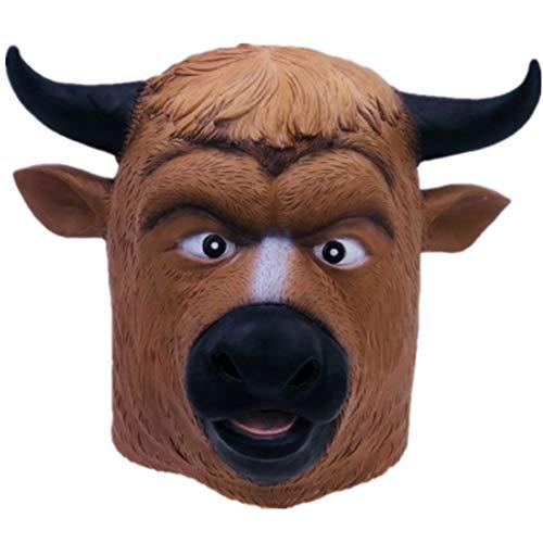 YC° Kuh Teufel Maske, Perfekte Wahl Für Halloween Und Karneval Tier Latex Haube Erwachsenenbekleidung Lustige Requisiten, Unisex-Größe, Braun