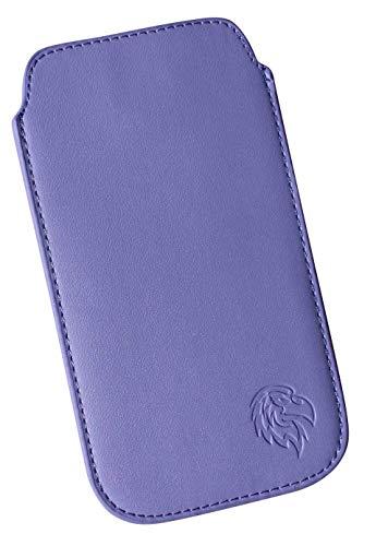 Dealbude24 Custodia protettiva per Apple iPhone 12 Pro Max con custodia, estraibile, sottile tasca cucita con linguetta di estrazione, morbida fodera interna in microfibra con motivo aquila SXS chiaro