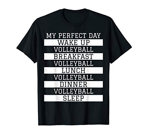 Funny Volleyball Player Gift 'My Perfect Day' Volleyball T-Shirt