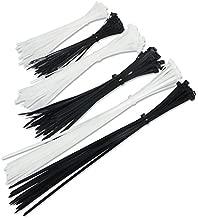 200 PCS Zip Ties, Nylon Cable Wire Ties, 6+8+12-Inch Small Zip Ties Heavy Duty (Black & White)