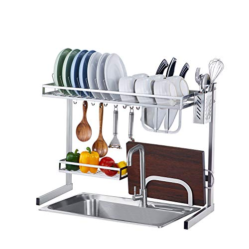 istBoom Over The Sink Dish Drying Rack, Small Over Sink Dish Drainer Stainless Steel in Kitchen with Utensil Caddy Knife Cutting Board Holder 10 Hooks (Sink Size ≤ 25 inch, Silver)
