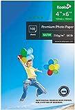 KOALA Papel fotográfico satinado 4x6 pulgadas, 10x15 cm, 250 g/m², 100 hojas, con revestimiento de resina avanzada satinado premium para impresora de inyección de tinta Canon HP Epson