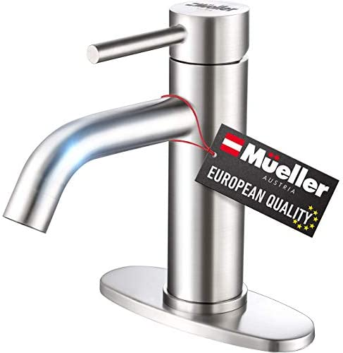 Mueller Premium Single Hole Bathroom Sink Faucet Single Handle with Drain Assembly Deck Plate product image
