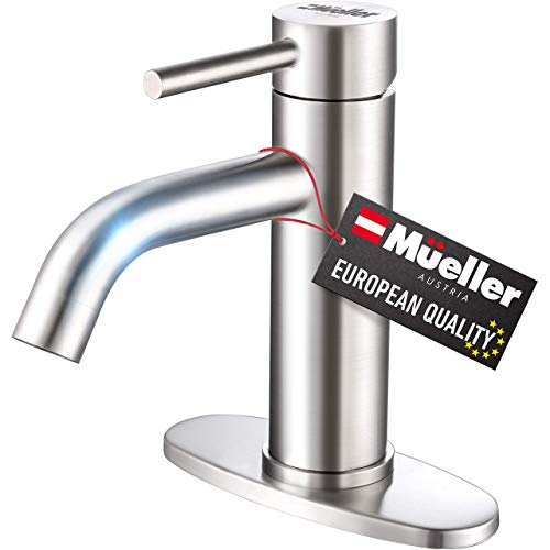Mueller Premium Single-Hole Bathroom Sink Faucet, Single-Handle with Drain Assembly, Deck Plate for 1-Hole and 3-Holes Installations, Stainless Steel Brushed Nickel Finish, Supply Lines Preassembled