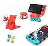 para Soporte de Nintendo Switch, Caja de Almacenamiento de Tarjetas de Juego, Maleta, Protector de Pantalla, Cubierta de manija, Tapa de Joystick, Tapa de balancín analógica (Rojo 5 en 1)