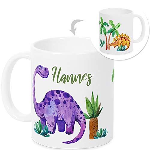 GRAZDesign Tasse mit Namen Junge - Dinos - Becher personalisiert Namenstasse Kindertasse für Jungs - Geschenk zur Geburt/Geburtstag inkl. Namensdruck