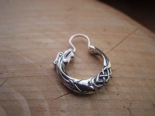 Fenrir wolf Hoop Earring for Men 19 mm Men's Earring Sterling Silver Unisex Jewelry Men's Jewelry FREE SHIPPING male handcrafted hoop earring Unisex