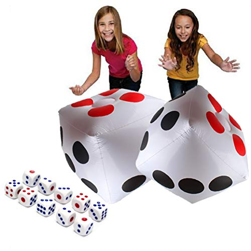 13' Jumbo Inflatable Dice, 2pack Outdoor Fun Giant Inflatable Dice Set and 12mm 10pcs Dice for Indoor and Outdoor Broad Game, Ludo and Pool Party
