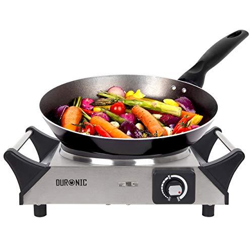Duronic HP1SS Kochplatte | elektrische Einzelkochplatte | Herdplatte | Kochfeld aus Edelstahl | rostfreier Stahl | stufenlos einstellbare Temperatur | Tragegriffe | 1500 Watt | Camping