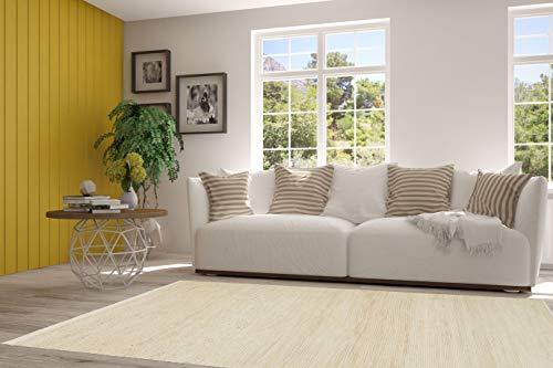 PuRo Lifestyle Hanfteppich 'Gozo' Offwhite, Größe:120 cm x 180 cm, in vielen weiteren Farben und Größen erhältlich