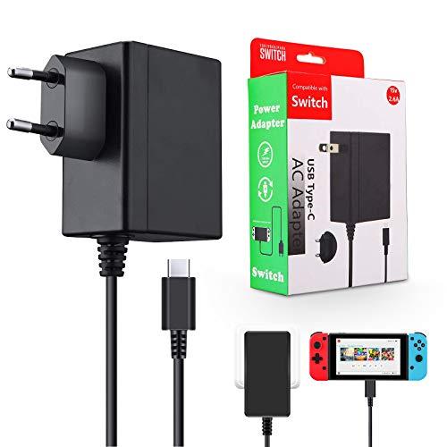ELYCO Caricatore per Nintendo Switch 15V 2.6A Adapter PD Carica Rapida,Alimentatore da 5FT Supporta Dock per TV Compatibile con Nintendo Switch & Switch Lite, Caricabatterie con Cavo USB Type-C