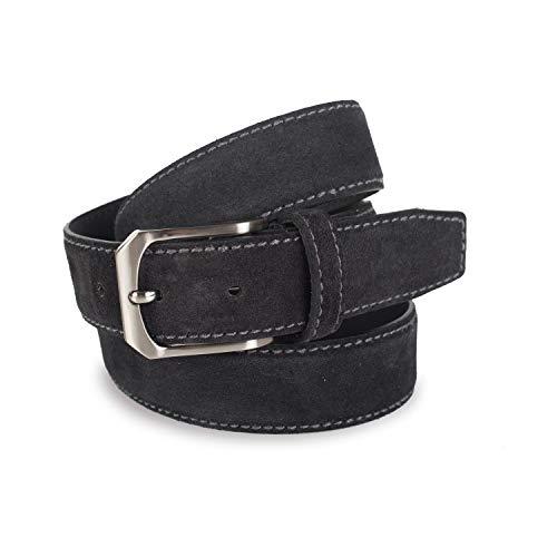 Lois - Cinturon Piel Serraje Ante Cuero Hombre Mujer. Hecho en ESPAÑA. Marca 35 mm Ancho. Talla Ajustable 49701, Color Negro