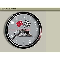 Cross Flags Stingray Chevrolet Corvette Wall Clock