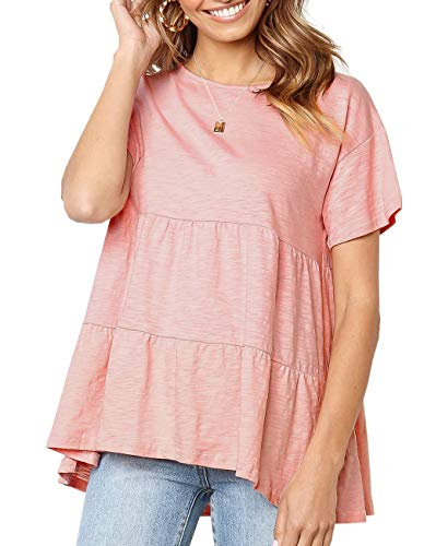 Women's Summer Short Sleeve Loose T Shirt High Low Hem Babydoll Peplum Tops(Pink,XXL)