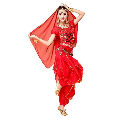 Xinvivion Donne Danza del Ventre Set - Halloween Carnevale Danza Abbigliamento Danza Indiana Costume Dancewear (Rosso,Adattarsi 45-70 kg)