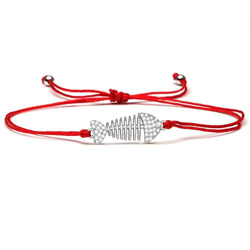 ANGYANG Woven Bracelet,Red Rope With Shiny Cubic Zirconia Silvery Fish Bone Handmade Woven Adjustable Charm Bracelets Exquisite Friendship Gift For Men Women Couples Boy Girl