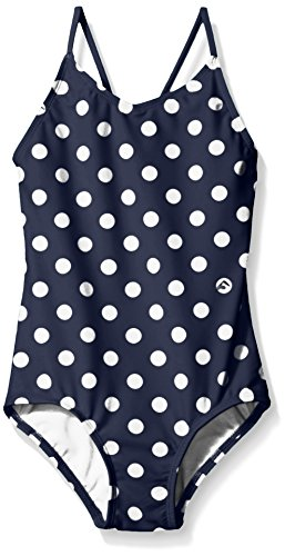 Kanu Surf Girls' Big Daisy Beach Sport 1-Piece Swimsuit, Suzie Navy Dot, 8
