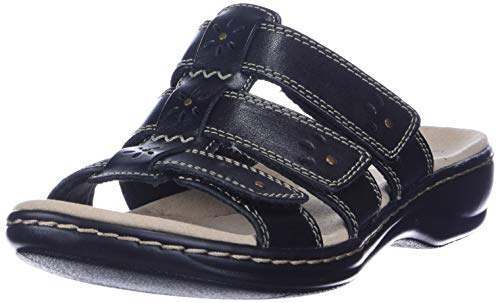 Clarks womens Leisa Spring Sandal, Black Leather, 7 US