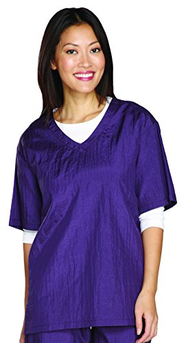 Top Performance V-Neck Grooming Smocks - Comfortable Pull-Over Nylon Tops for Professional Pet Groomers - Large, Plum