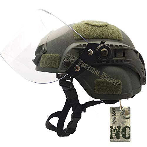QZY 2 En 1 Protección Anti Riot Mask + Airsoft Paintball PASGT Swat Helmet Set para Seguridad Personal De Caza Bola De Pintura Pelota De BB Bola,Green