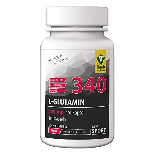 Raab Vitalfood L-Glutamin mit natürlichem Vitamin C aus Acerola; 100 Kapseln, vegan, glutenfrei, hergestellt, laborgeprüft in Deutschland