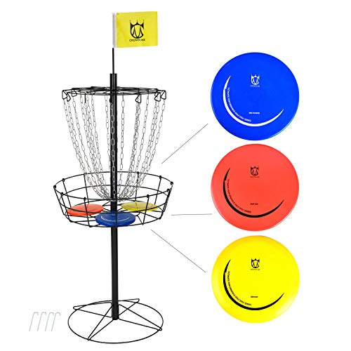 CROWN ME Disc Golf Basket Target Include 3 Discs, 18-Chain Portable Disc Golf Target, Metal Golf Goals Baskets with a Yellow Flag