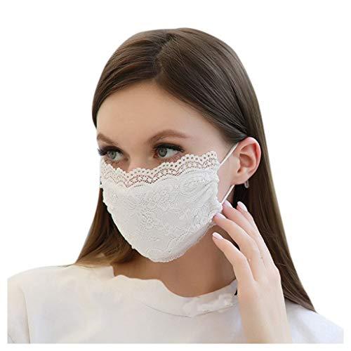 Fashion Frauen Perle Spitze Mundschutz, waschbar und wiederverwendbar Sommer Cool Face Protection mit verstellbarem Steg Design Face Bandana für Erwachsene Outdoor Aktivitäten, weiß
