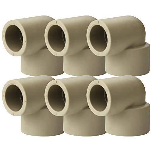 YOFASEN Rohrverbinder - Verbindungsstück Rohrverschraubung Winkel 90 °Kniestück Muffen Kappen Fittings,6 Stück,25 * 20 mm(Innendurchmesser)
