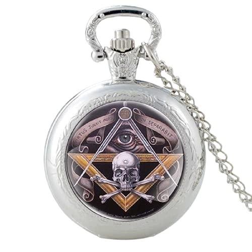 Reloj de bolsillo de cuarzo con diseño de calavera, estilo clásico, clásico, con diseño de calavera masónica, para hombres y mujeres, con colgante de esqueleto, cadena y reloj de hor
