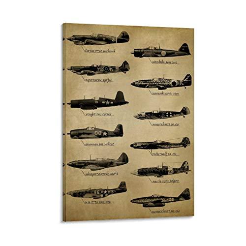 heshunxing Póster de la Segunda Guerra Mundial de los Aviones de combate y de los Juegos de la Primera Guerra Mundial, impresión artística de pared moderna para dormitorio familiar (20 x 30 cm)