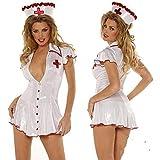 BVBVBV Corsés para Mujer Conjuntos de lencería para Mujer Disfraz de actuación de Enfermera de Halloween Ropa Blanca Uniforme de tentación Bar Noche DS Disfraz de actuación Blanco Talla única